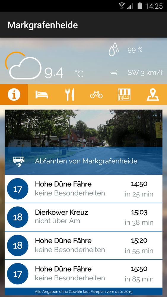 Mit der Markgrafenheide-App haben Sie schnell Zugriff auf den Fahrplan