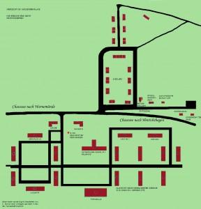 Diese Karte zeigt welchen Zweck die Häuser der Fliegerschule hatten und wie sie angeordnet waren.